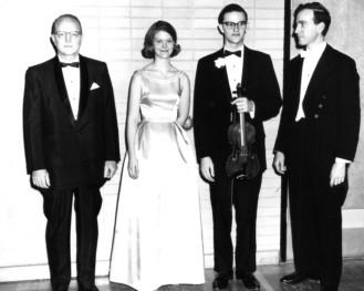 1965 – Young Artists Linda Blackwood, piano, and David Rosenboom, violin, with trombonist Dr. Guy Tourney and conductor Harold Bauer.